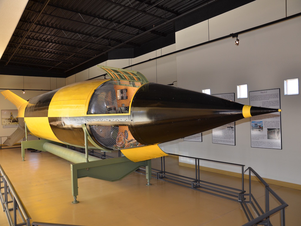V-2 rocket. Built in 1950. Restored in later years and put in it's own building for preservation.