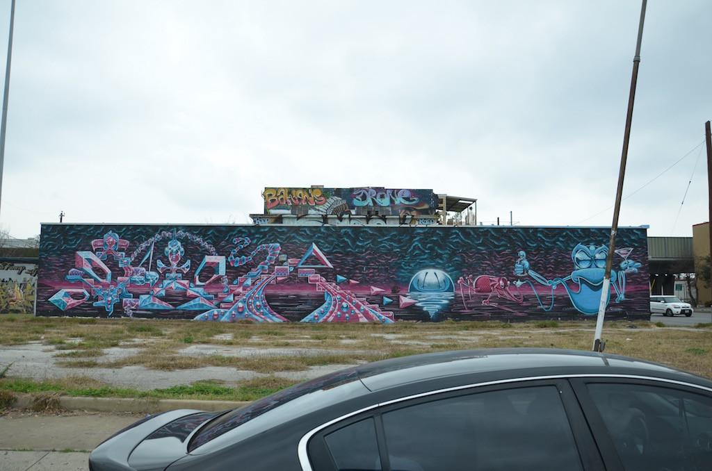 Mural along the freeway in San Antonio