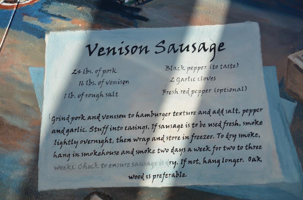 The murals even had a recipe for Venison sausage!