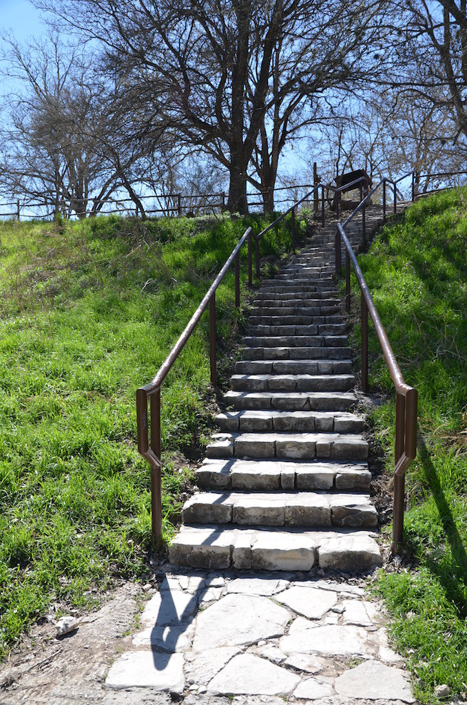 Stairs from the river to the picnic areas