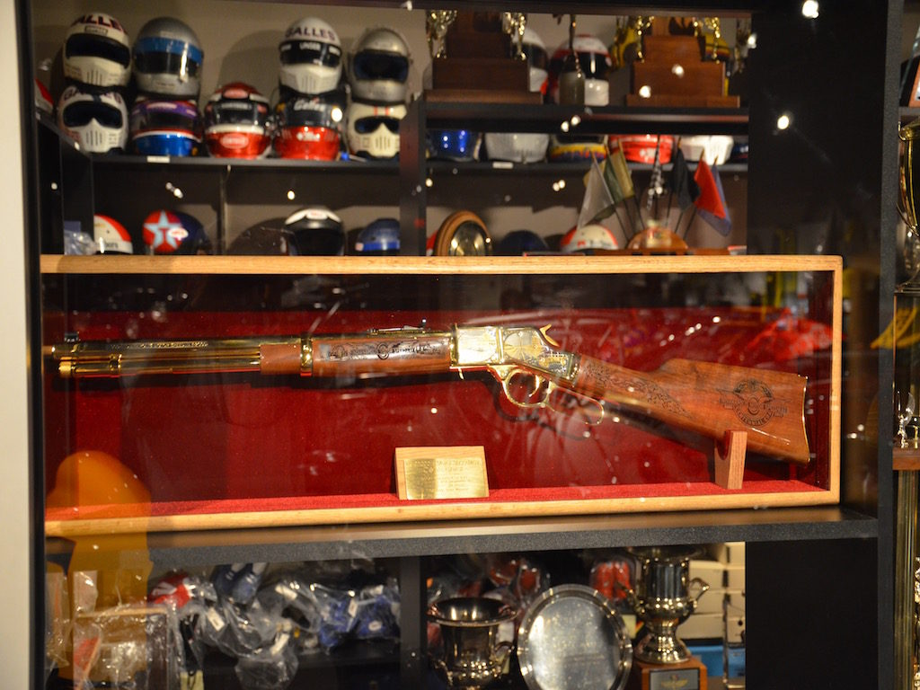 A custom rifle given to Al Sr. for an Indy win; check out the etchings; beautiful gun!