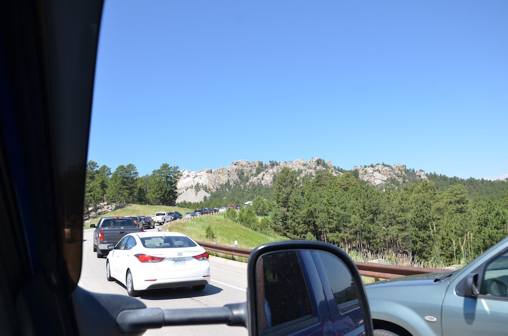 We went to Mount Rushmore and were greeted by this LONG line (it was the 4th of July)