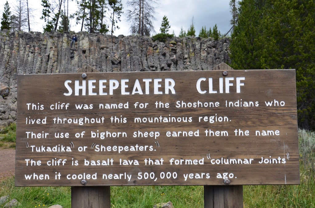 We saw Sheepeater Cliff (Sheepeater was the nickname for the local indians)