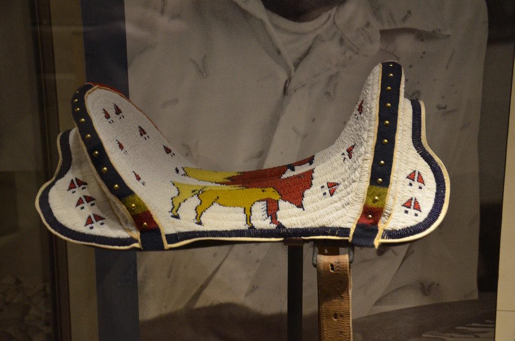 An intricate beautiful beaded saddle.