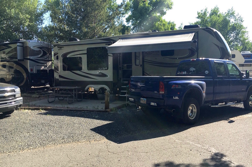 Our camp spot in Clear Creek rv Park, a Golden city park.