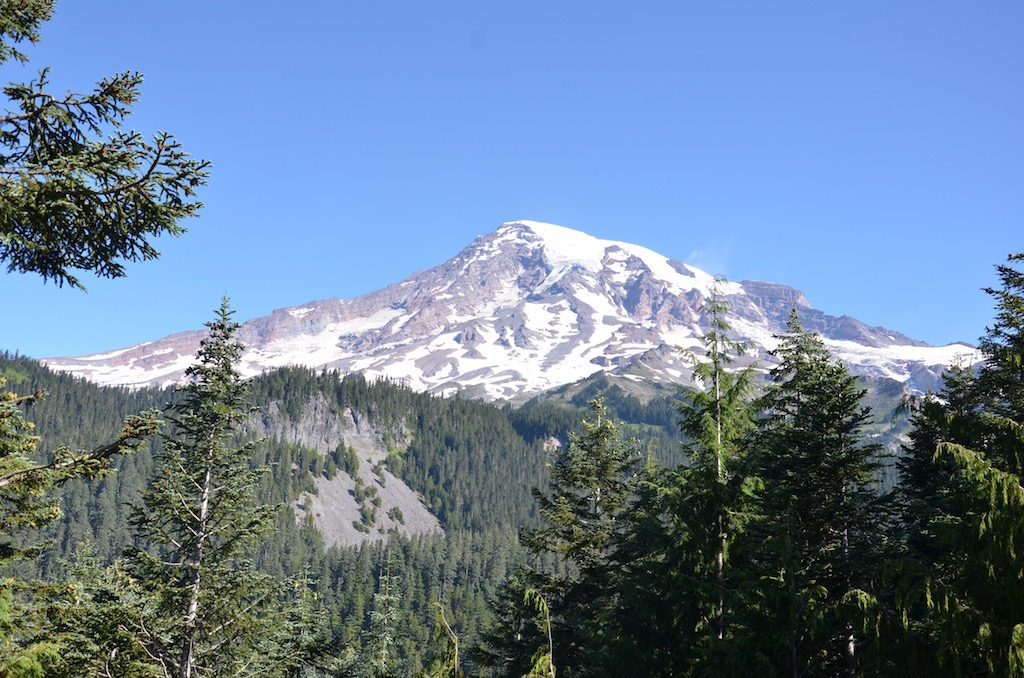 View of Mount Rainier from the lodge.