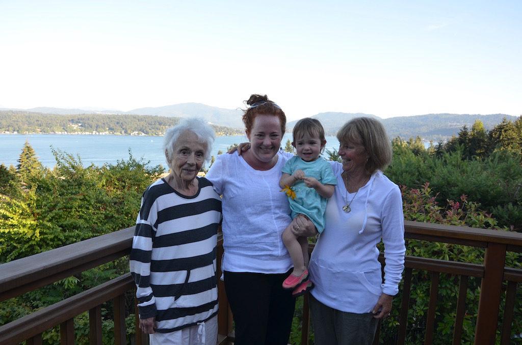 Four generations; Jan, grandma; Elise, grand daughter; Meribelle, great grand daughter; and Cindy, daughter